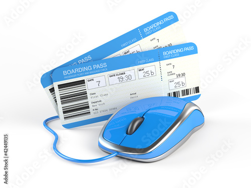 Airline tickets and mouse - Online booking concept