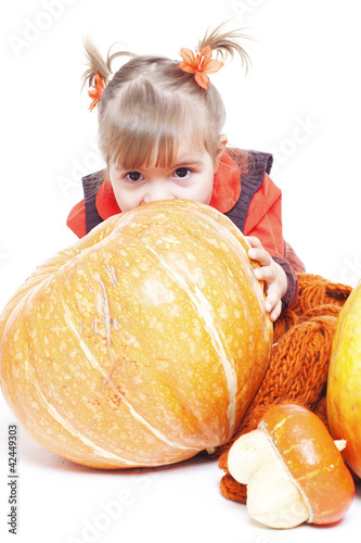 little girl in an orange vest plays with big pumpkins