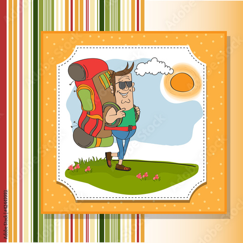 tourist man traveling with backpack