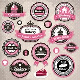 Vintage frame with bakery cupcake template
