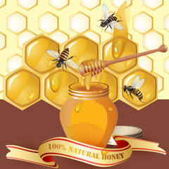 Jar of honey with wooden dipper, bees and ribbon