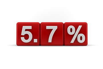5.7 percent in white numbers on red cubes