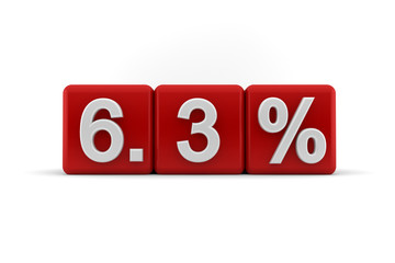 6.3 percent in white numbers on red cubes