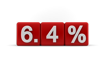 6.4 percent in white numbers on red cubes