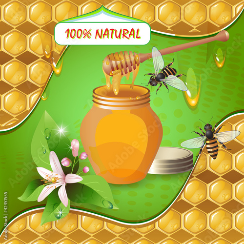 Jar of honey with wooden dipper, bees and flower