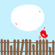Red Bird With Gift On Fence Speech Bubble Blue