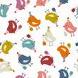 Seamless Pattern Birthday Birds Gifts Retro Dots