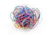 A ball of colourful cables isolated on white background