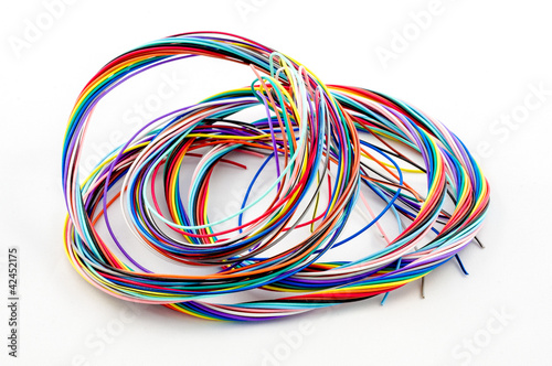 A bunch of colourful cables isolated on white background