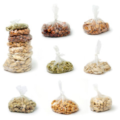 Nuts in clear bags