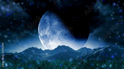 Moon Dream Landscape Scenic Space Animation