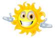 Cute sun mascot cartoon character