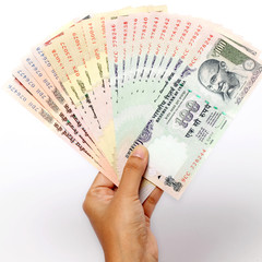 Hand holding Indian rupee notes against white