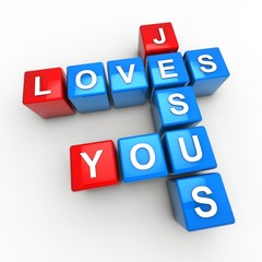 Jesus loves you (blue and red)