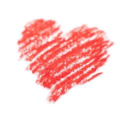 coeur rouge dessin a la craie