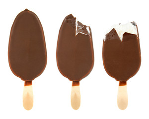 ice cream with chocolate on a stick