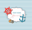 Scrap nautical card with frame, anchor,wheel and seashells