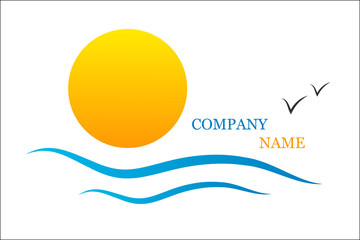 Business logo with sea,waves,sun and seagulls