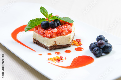 Luscious berry dessert on a plate