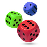 Red, green & blue dices isolated against a white background