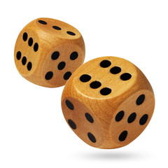 A pair of rolling wooden dices on white