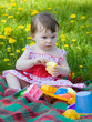 little girl on picnic in city park