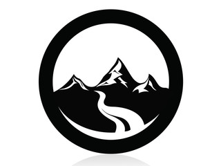 Mountain peaks in circle logo,icon,sign,vector