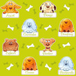 Funny dog snouts, cartoon seamless pattern