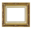 Horizontal antique gold frame isolated on white background