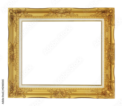 Horizontal Roman style antique gold frame isolated on white back