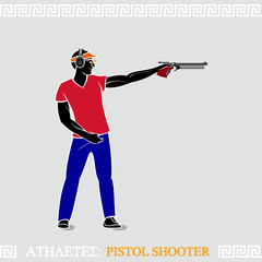 Greek art stylized air pistol shooter ready to shoot