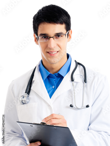 Doctor writing on clipboard, isolated