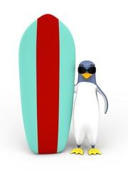 un pingouin avec une planche de surf