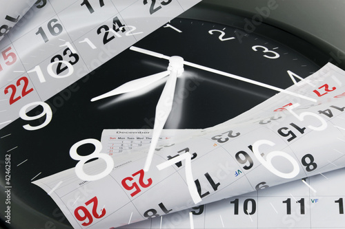 Leinwandbild Motiv Calendar Pages and Clock