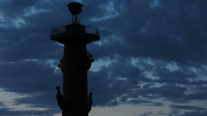 St. Petersburg, Silhouette of Rostral column in White nights