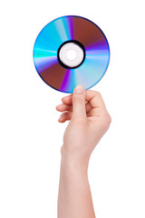 Man's hand holding a compact disc