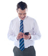 Business executive reading text message