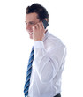 Side view of manager attending phone call