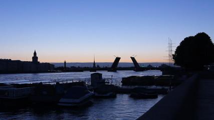 St. Petersburg, Silhouette drawbridge across the Neva River