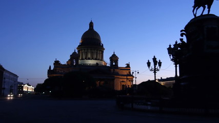 St. Petersburg, Panorama of St. Isaac's Cathedral Silhouette