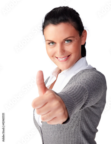 young business woman, thumb up