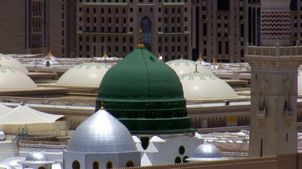 Prophet's Mosque green dome close up