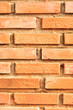 Close-up on the red brick wall.