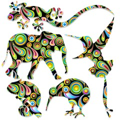 Animali Selvaggi Pop Art Wild Animals-Vector