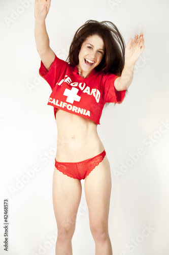 Sexy Woman in a Red T-Shirt