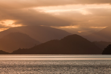 Cloudy Sunset over Marlborough Sounds, New Zealand