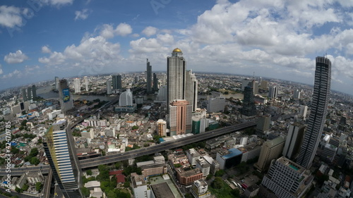 Time Lapse (fisheye) Highway Traffic, Skyline Bangkok, Thailand