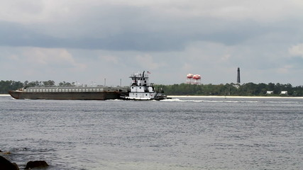 Tugboat Pushing Barge