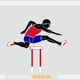 Greek art stylized hurdler fly over hurdles poster