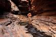 Water flowing deep below in gorge